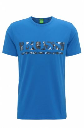 Regular-fit logo T-shirt in stretch cotton, Blue