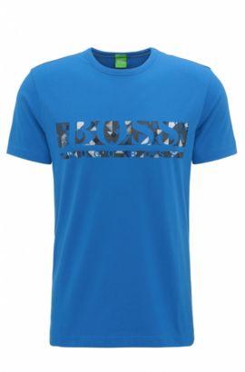 Camiseta regular fit con logo en algodón elástico, Azul