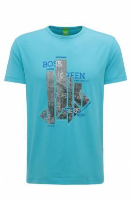 T-shirt Regular Fit en jersey simple stretch, Bleu vif