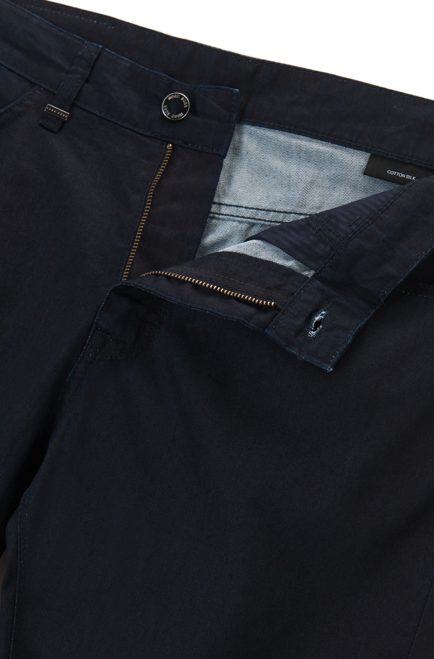 Regular-Fit Jeans aus Baumwoll-Mix mit Seide