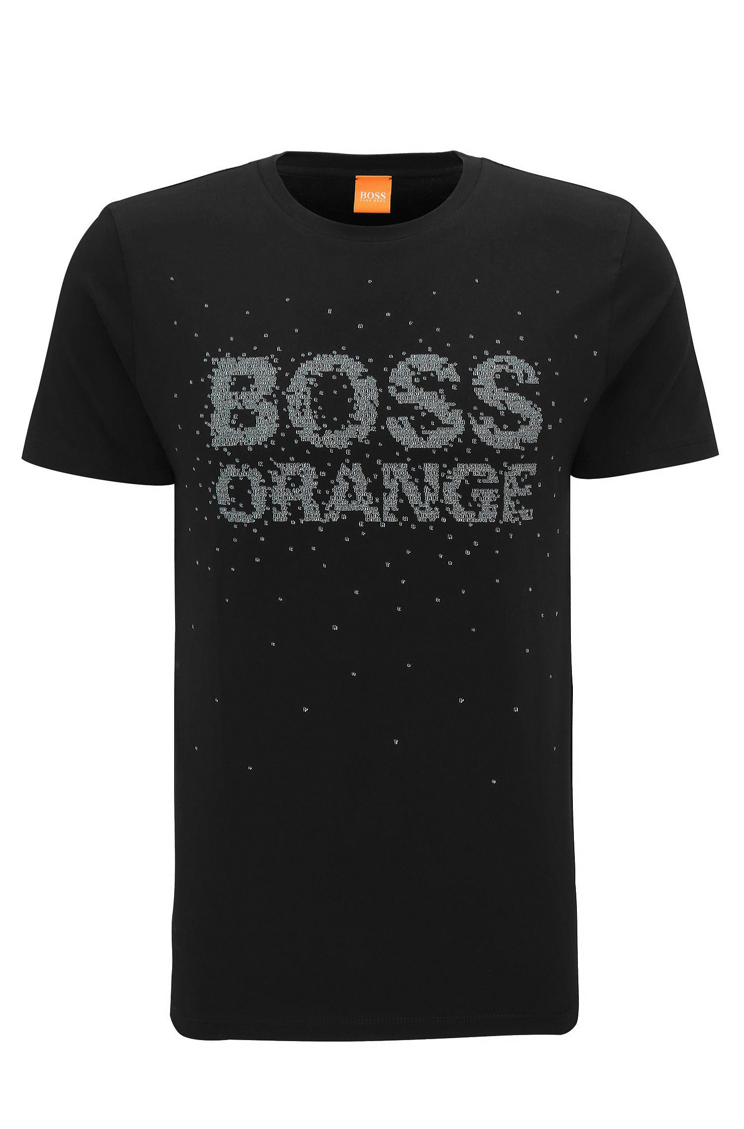 Regular-fit T-shirt van katoen met bewerkte logoprint