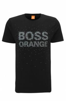 Regular-fit T-shirt van katoen met bewerkte logoprint, Zwart