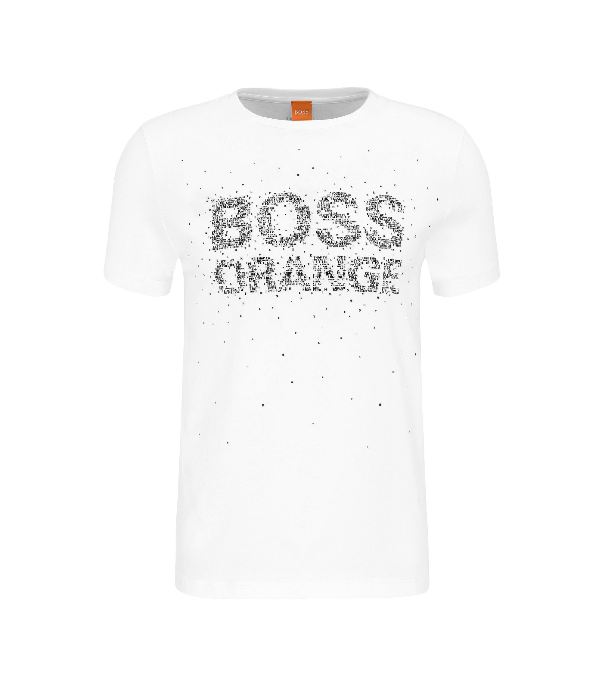 Regular-fit cotton T-shirt with reworked logo print, White