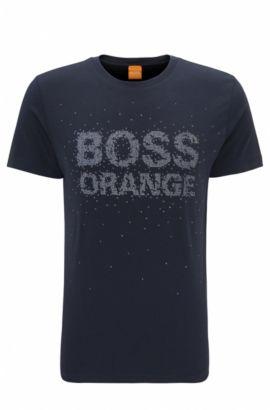 Regular-fit T-shirt van katoen met bewerkte logoprint, Donkerblauw