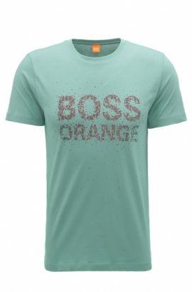 T-shirt Regular Fit en coton avec logo imprimé retravaillé, Turquoise