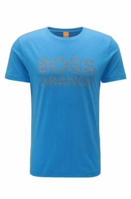 Regular-Fit T-Shirt aus Baumwolle mit neuem Logo-Print, Blau