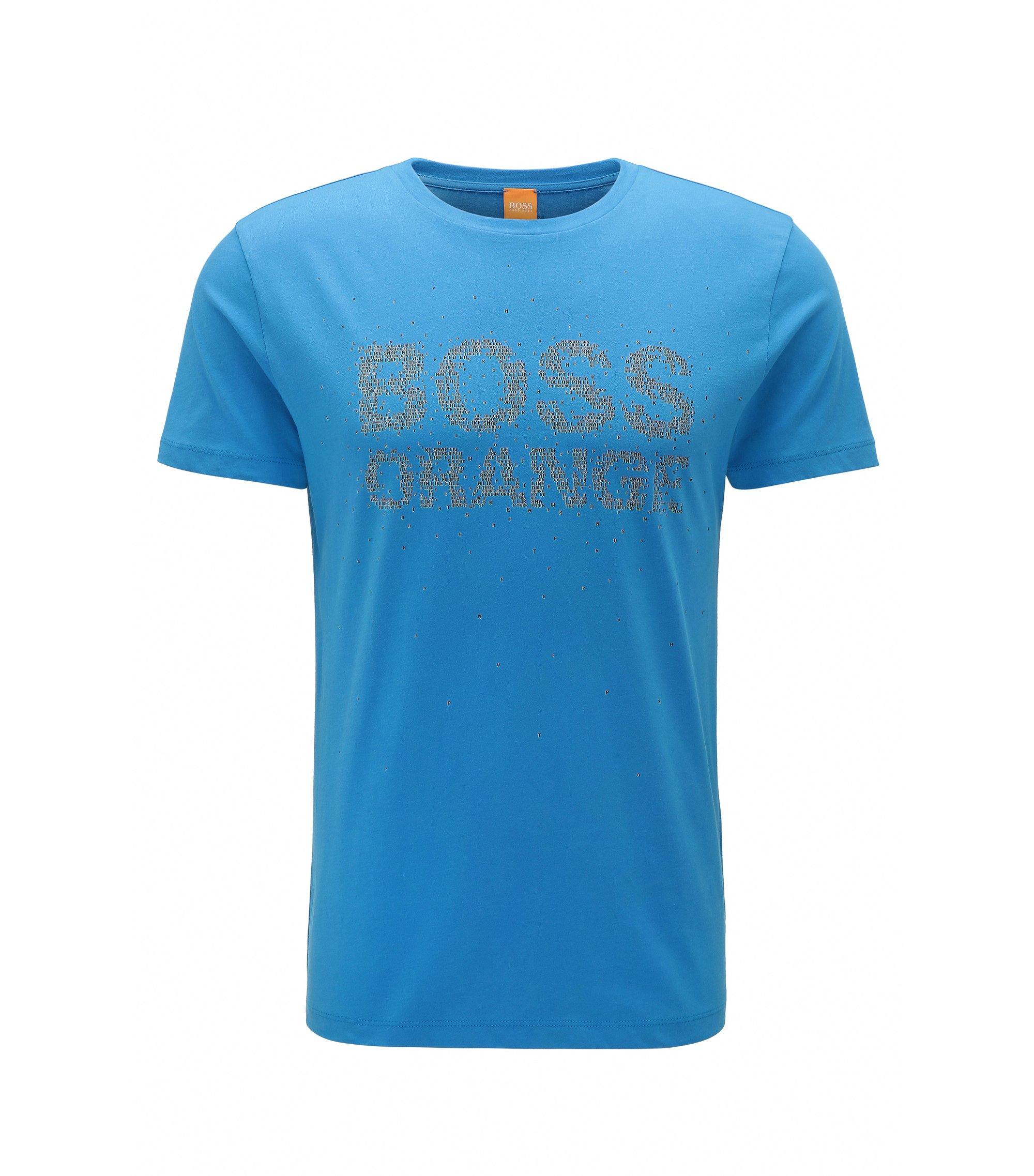 T-shirt regular fit in cotone con stampa del logo rivisitata, Blu