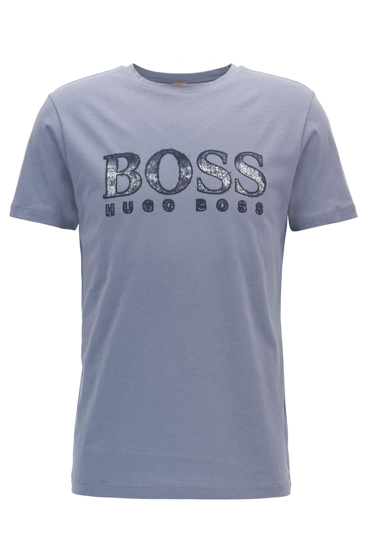 Regular-fit T-shirt van katoen met logo