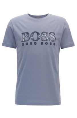 Regular-fit T-shirt van katoen met logo, Donkerblauw