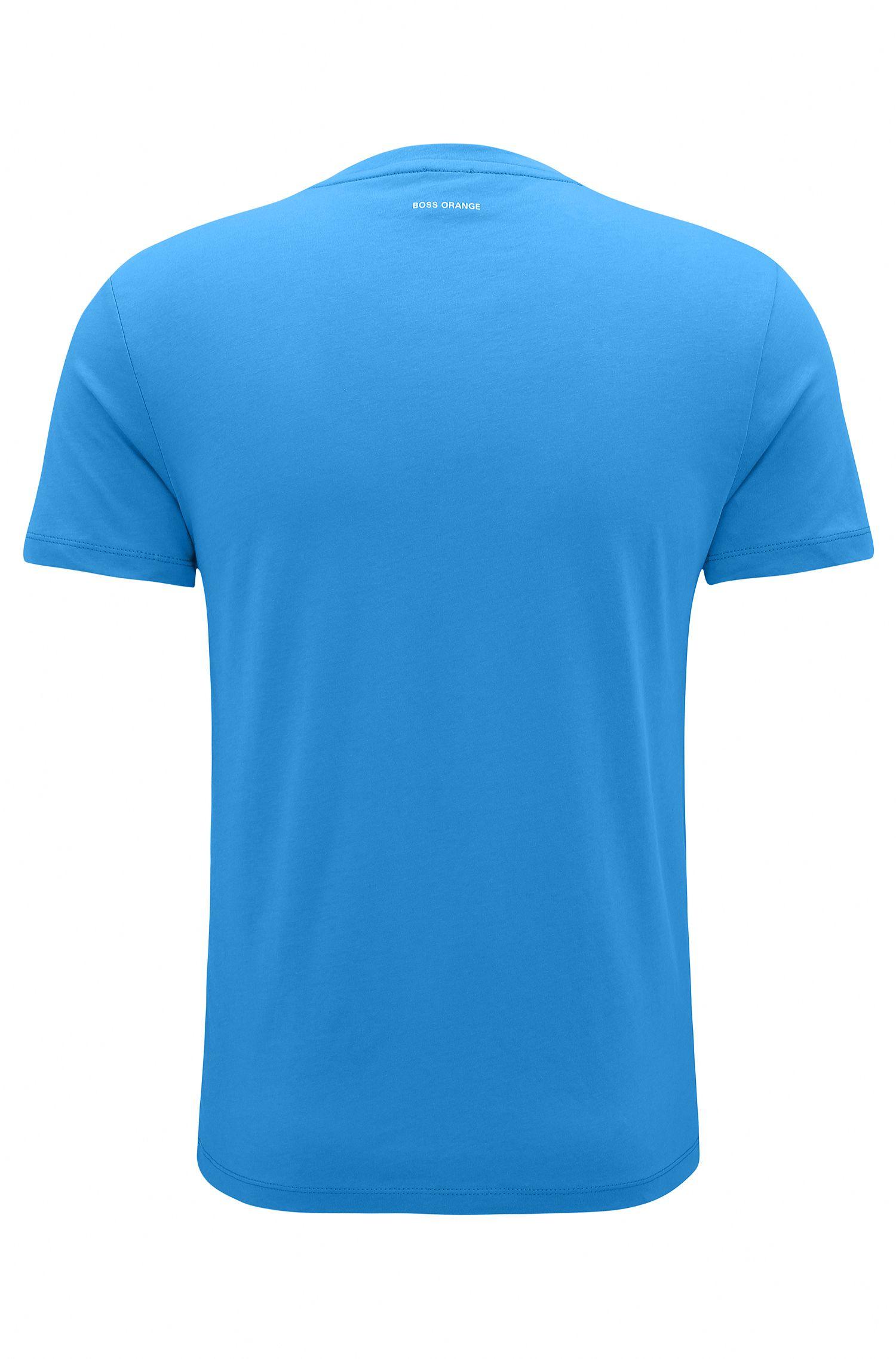 T-shirt Regular Fit en coton avec logo, Bleu