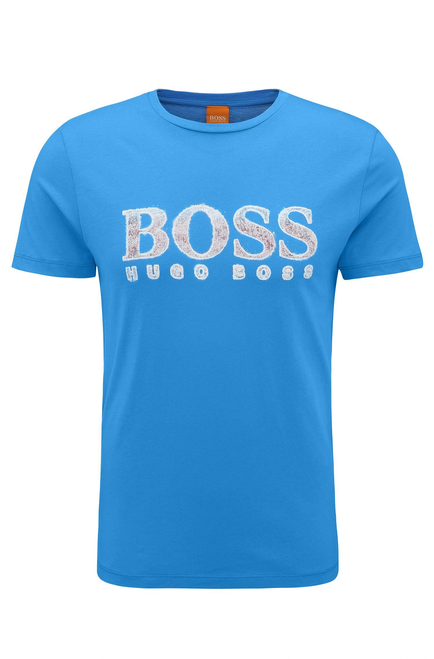 Regular-fit T-shirt van katoen met logo, Blauw