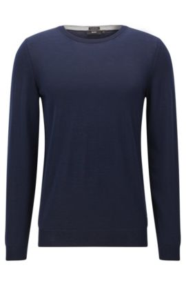 Slim-fit trui van extra fijne scheerwol, Donkerblauw
