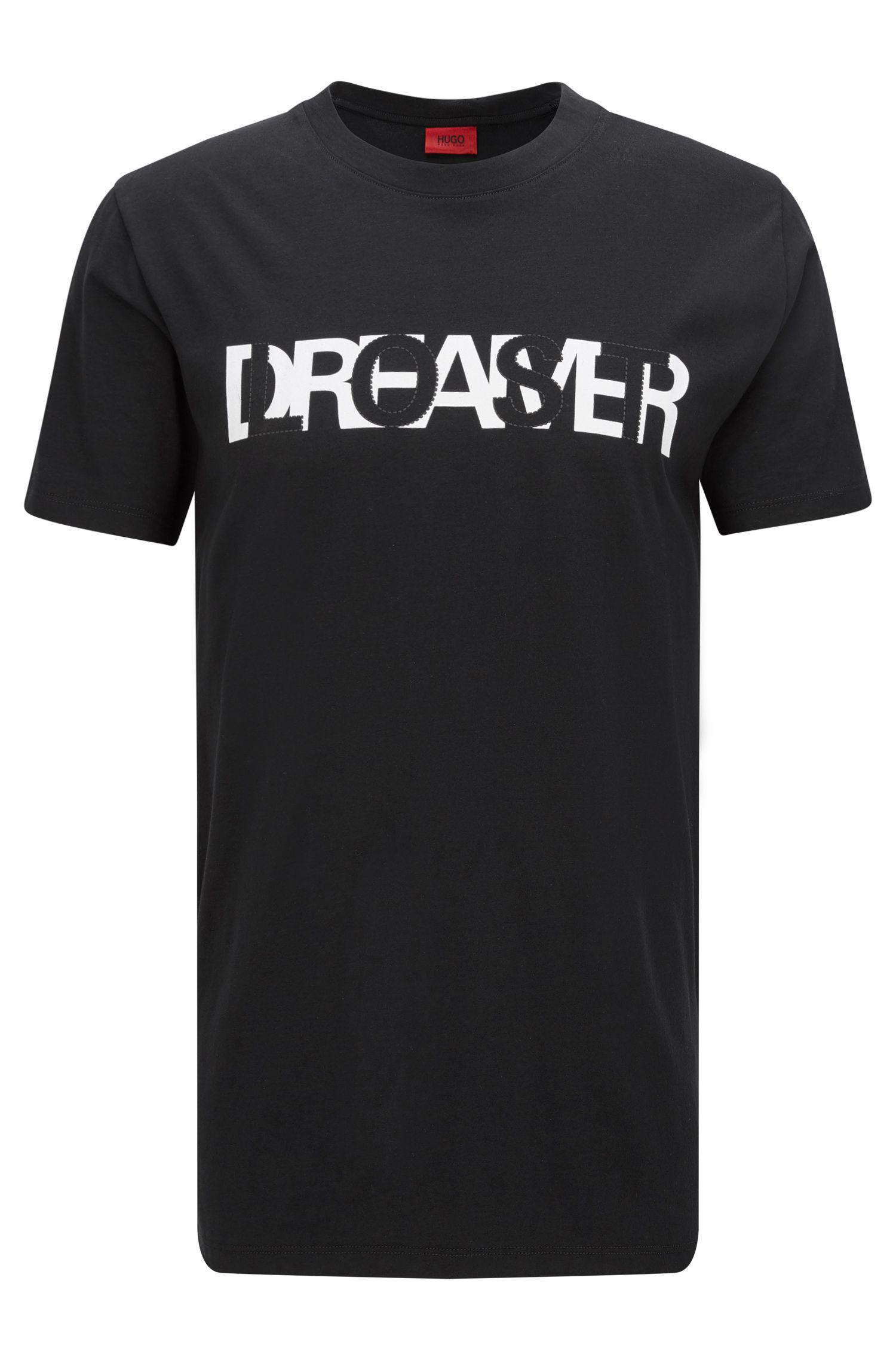 Relaxed-fit T-shirt van katoen met contrastprint