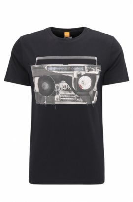 Regular-fit T-shirt van katoenen jersey met digitale print, Zwart