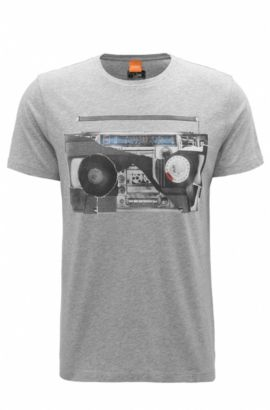 T-shirt regular fit in jersey di cotone con stampa digitale, Grigio