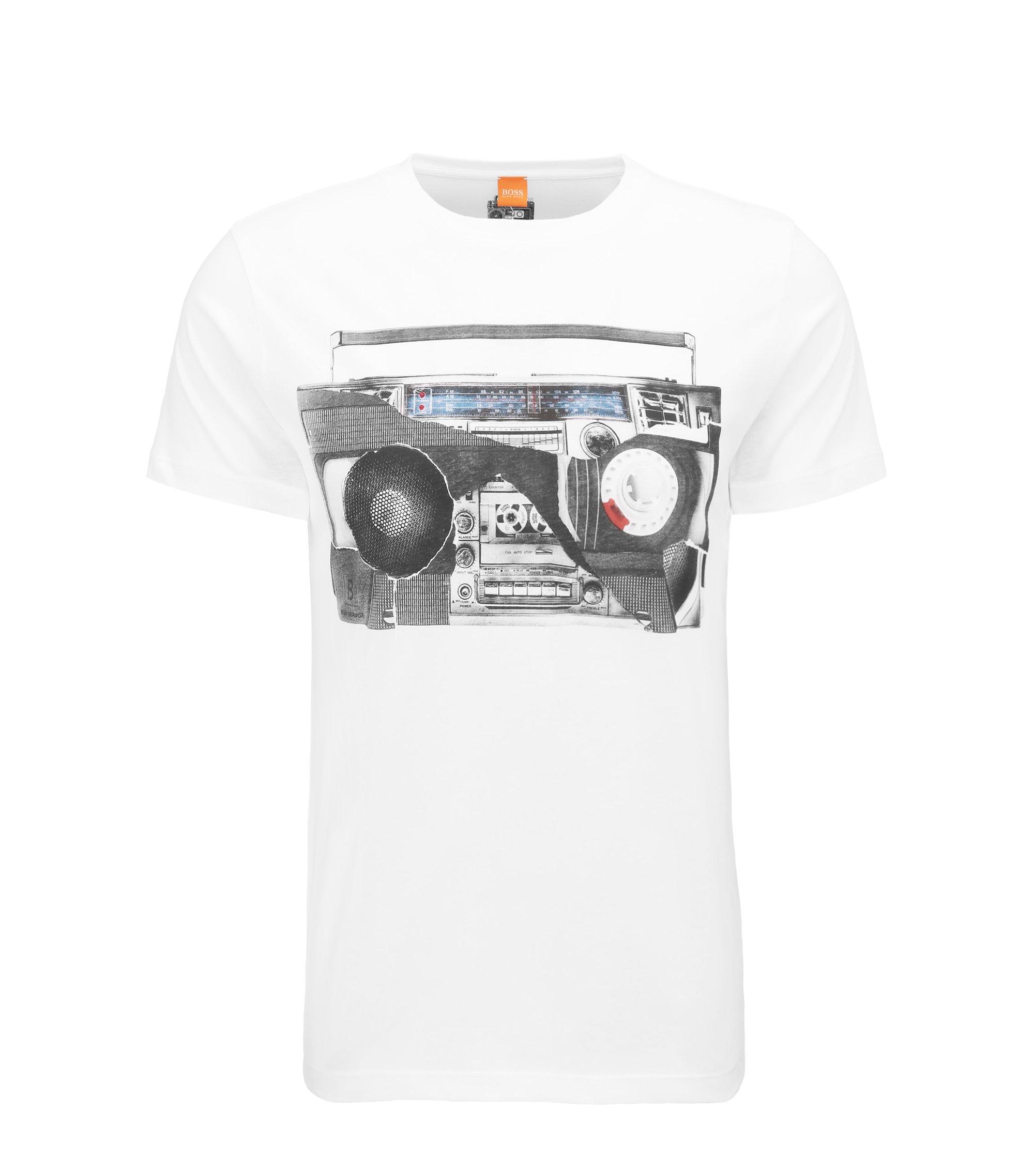 Regular-Fit T-Shirt aus Baumwolle mit Digital-Print, Weiß