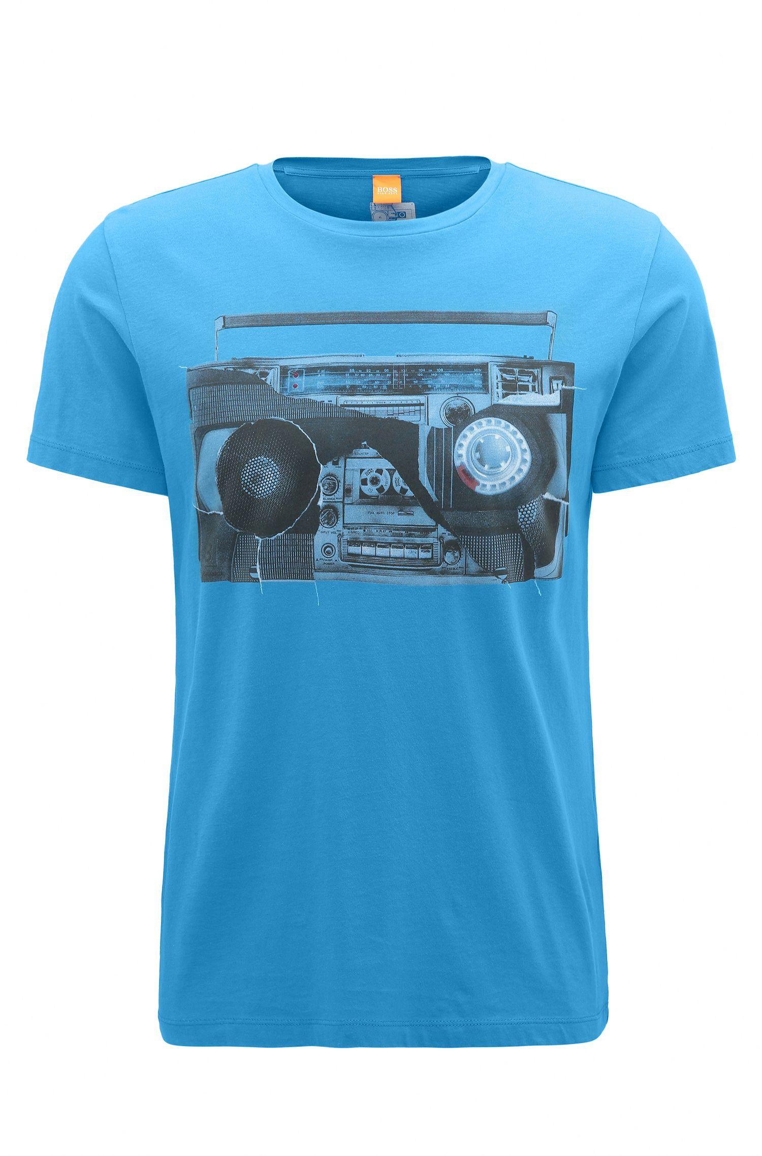 Camiseta regular fit en punto de algodón con estampado digital