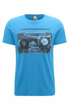 Camiseta regular fit en punto de algodón con estampado digital, Azul oscuro