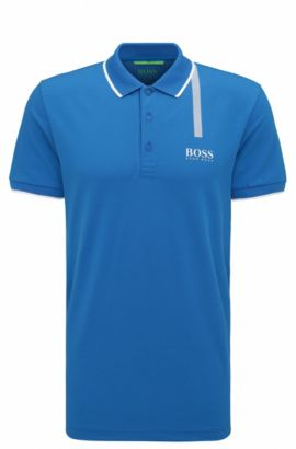Slim-fit polo shirt in a cotton blend, Open Blue