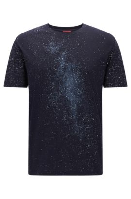 Oversized-fit cotton T-shirt with Milky Way print, Dark Blue