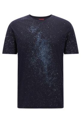 Oversize-T-Shirt aus Baumwolle mit Milchstraßen-Print, Dunkelblau