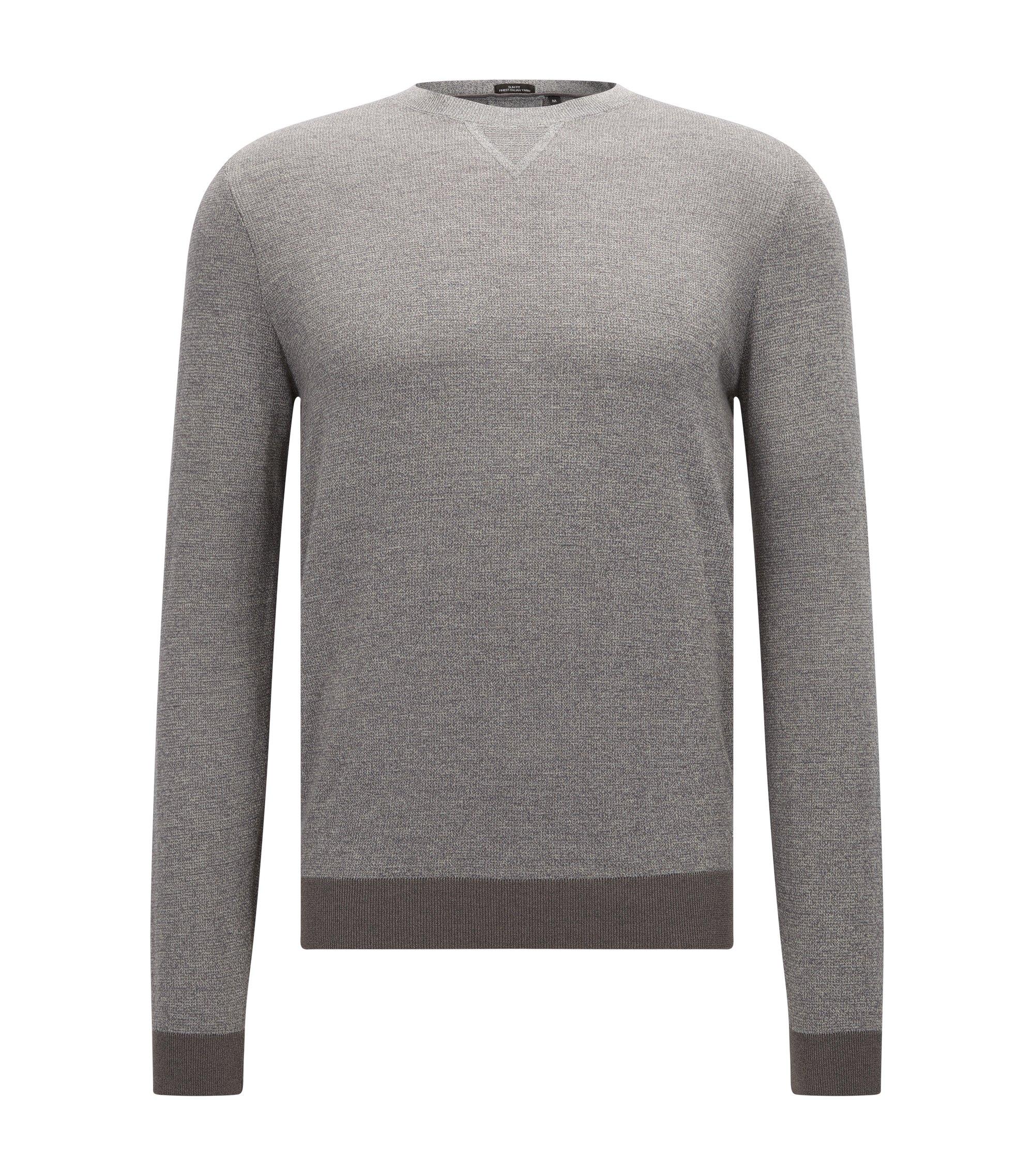Slim-fit trui van een mix van wol en katoen in mouliné, Lichtgrijs