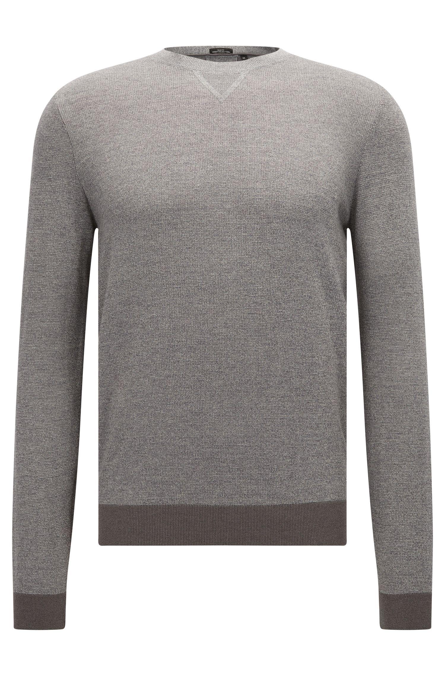 Slim-fit trui van een mix van wol en katoen in mouliné