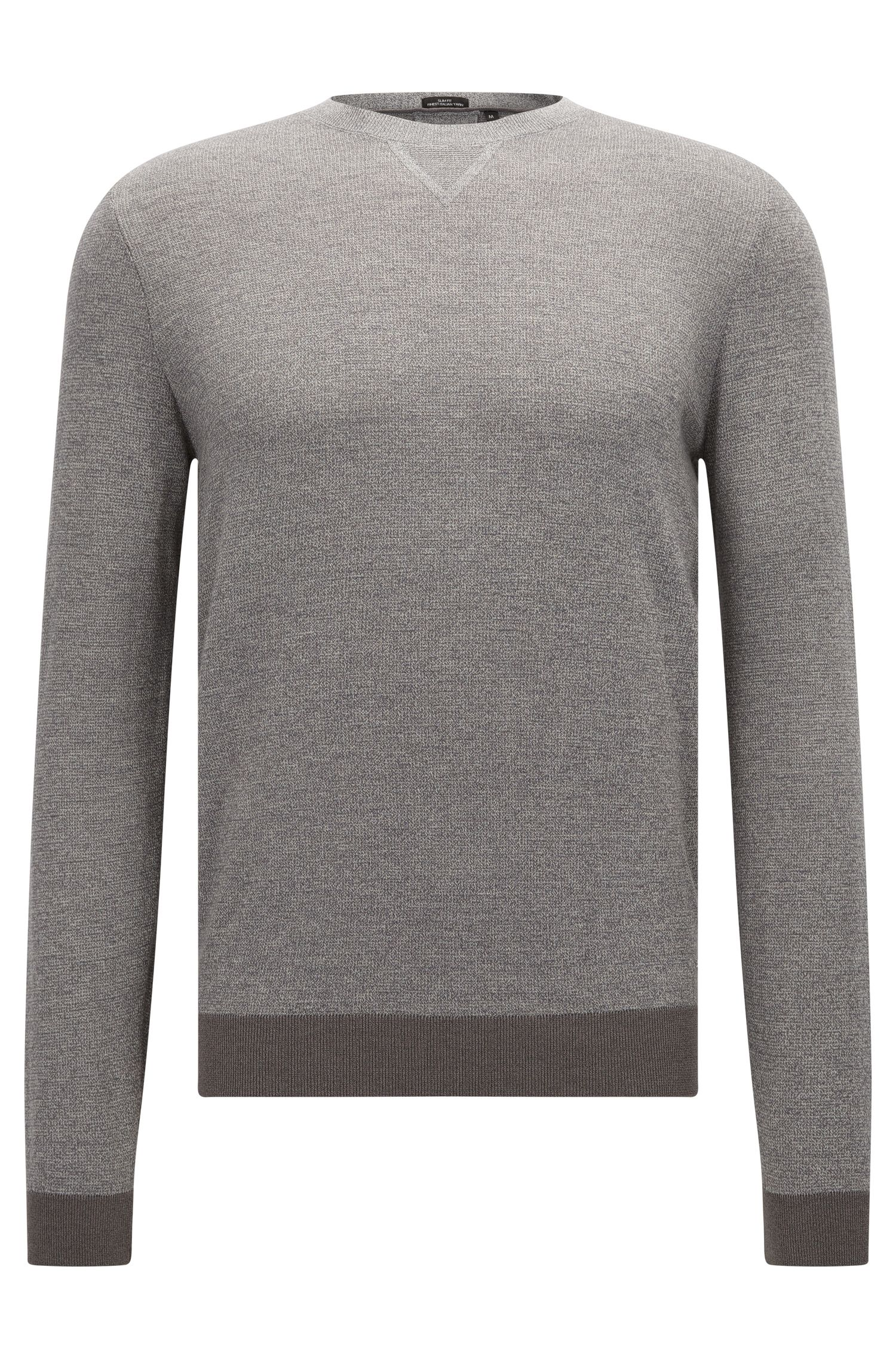Slim-fit mouliné sweater in wool-cotton blend