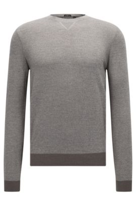 Slim-fit mouliné sweater in wool-cotton blend, Open Grey