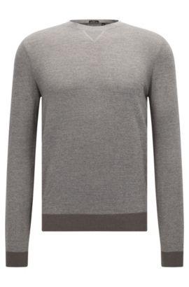 Jersey slim fit de mouliné en mezcla de lana y algodón, Gris claro
