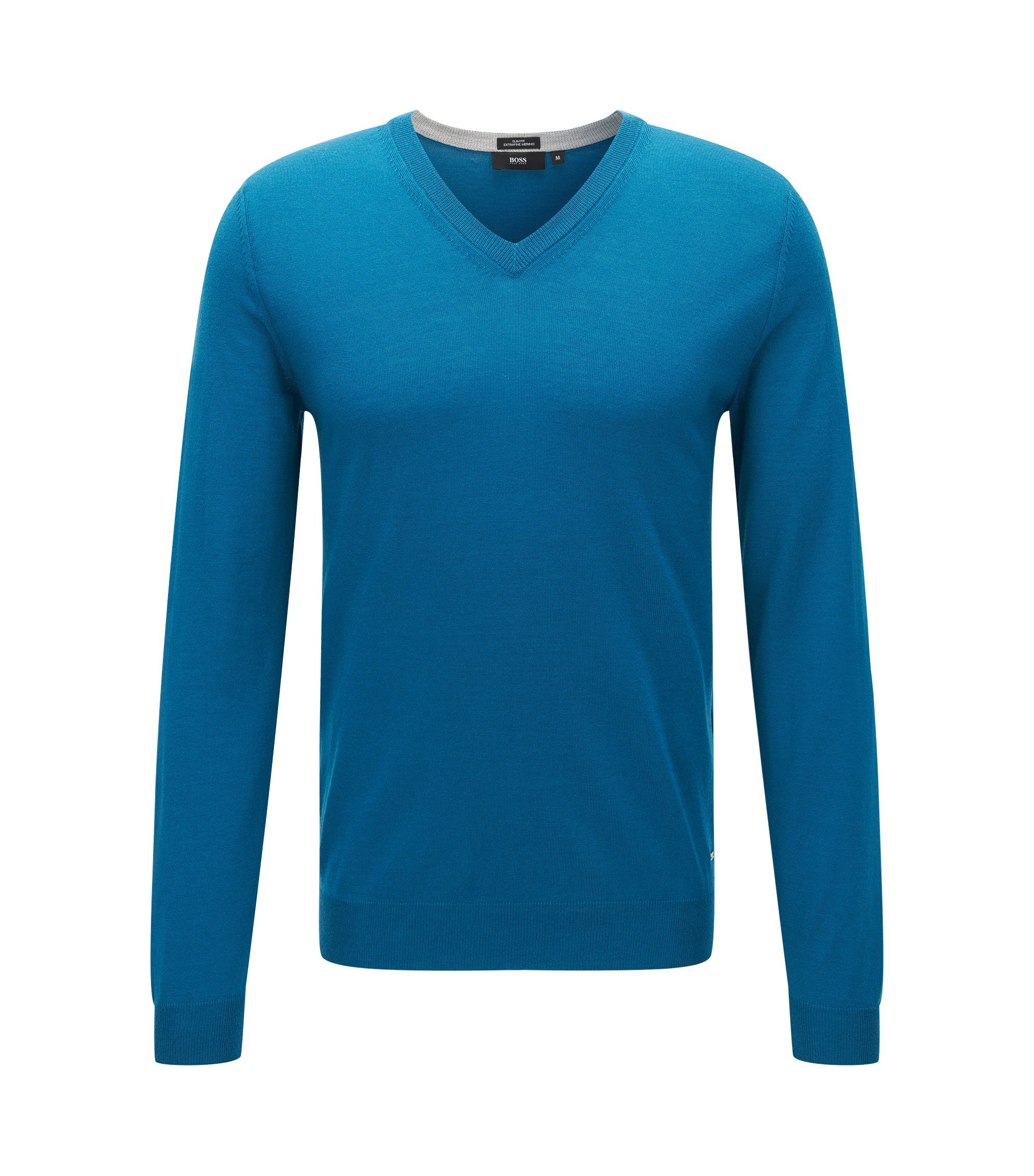 Pull Slim Fit en laine mérinos extra fine, Turquoise