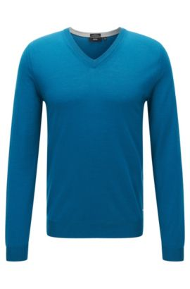 Slim-fit sweater in extra-fine merino wool, Turquoise