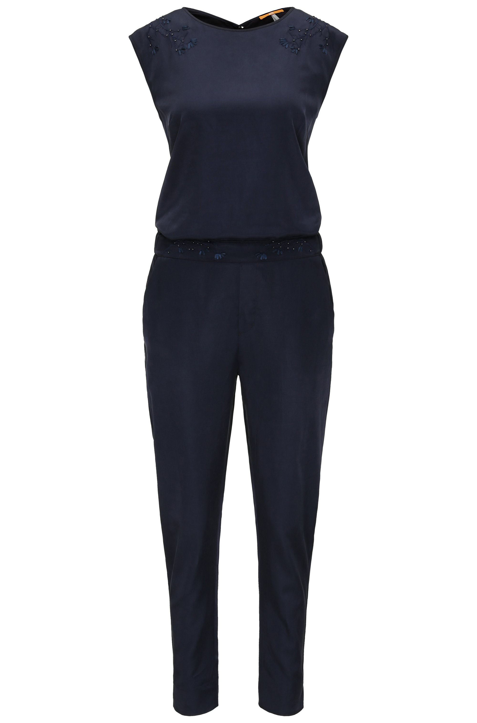 Regular-fit jumpsuit met bloemendetail, Donkerblauw