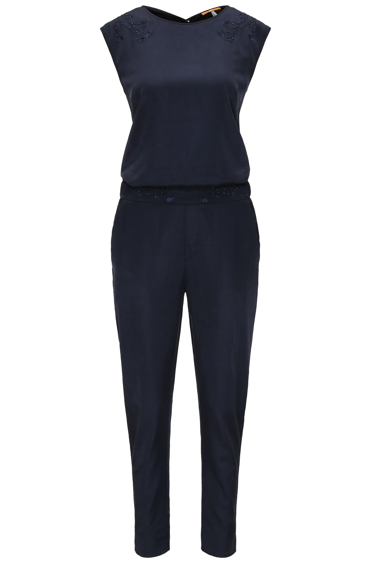 Regular-fit jumpsuit met bloemendetail