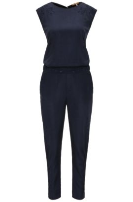 Regular-fit jumpsuit with flower detail, Dark Blue