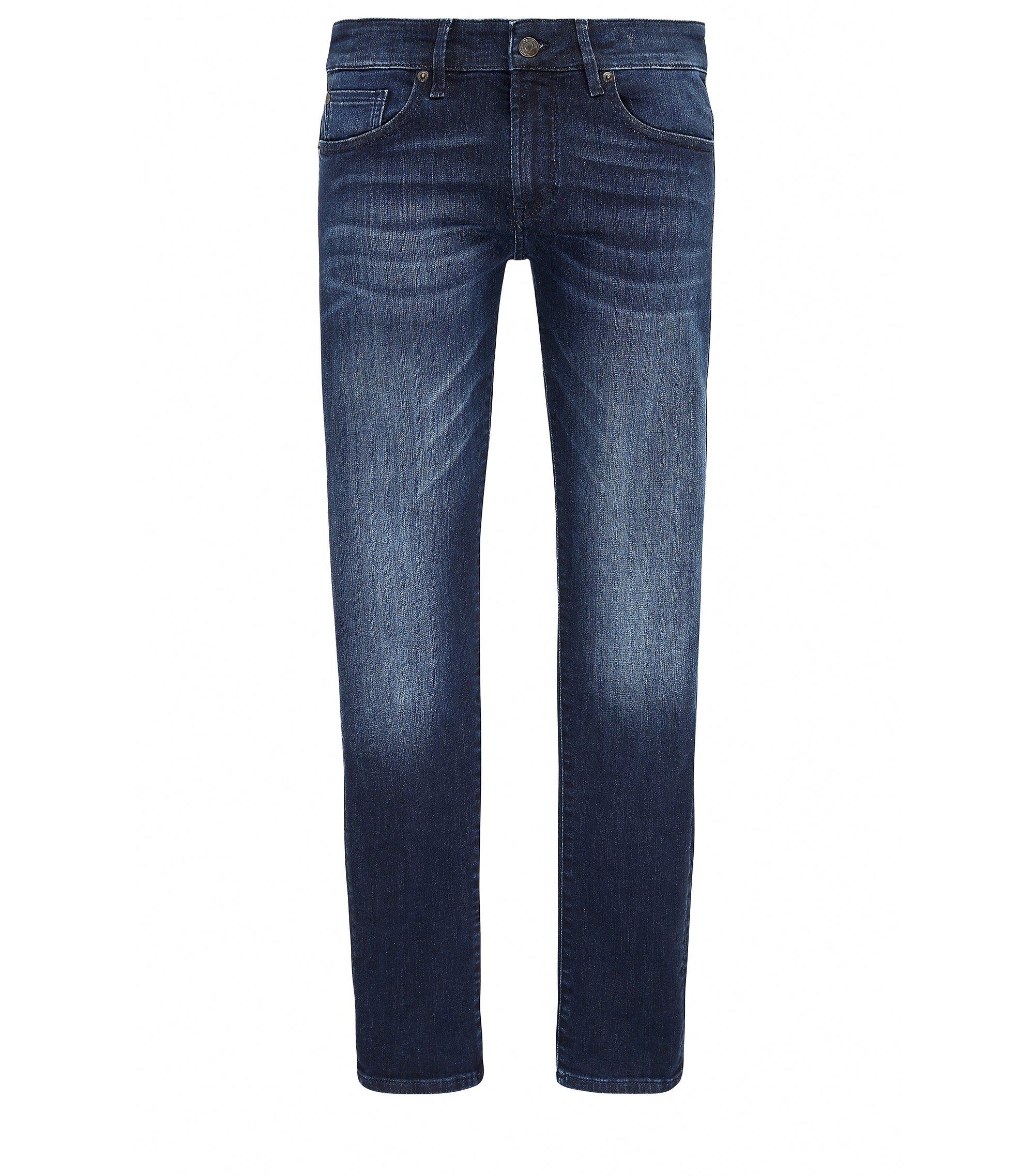 Jeans skinny fit in denim super elasticizzato con finiture effetto usato, Blu scuro