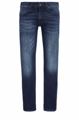 Jeans Skinny Fit en denim ultrastretch à la finition usée, Bleu foncé