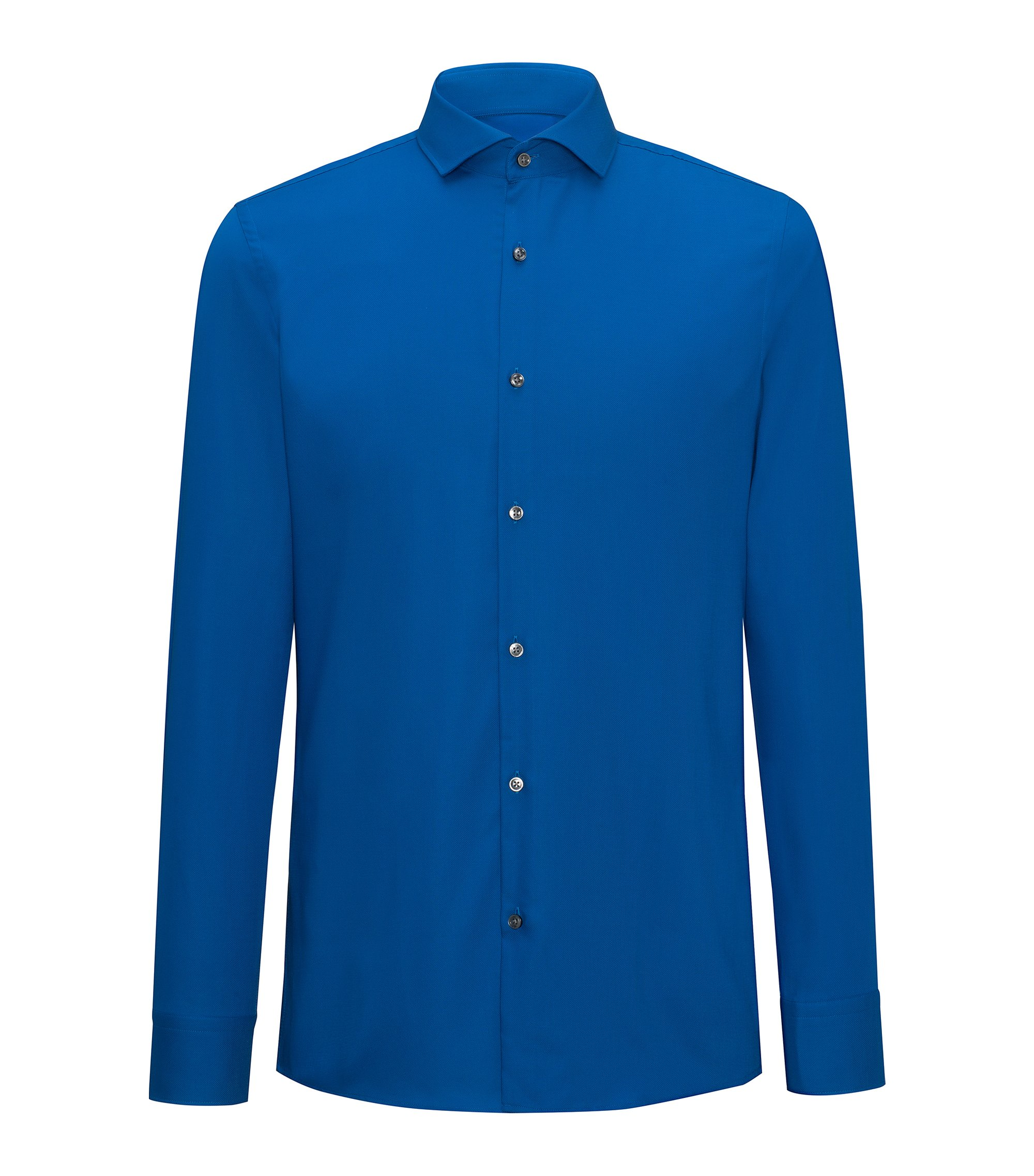 Slim-fit shirt in easy-iron cotton poplin with spread collar, Blue