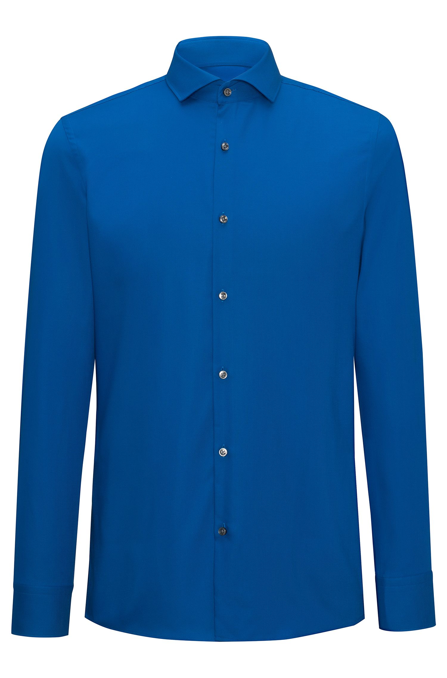 Slim-fit shirt in easy-iron cotton poplin with spread collar