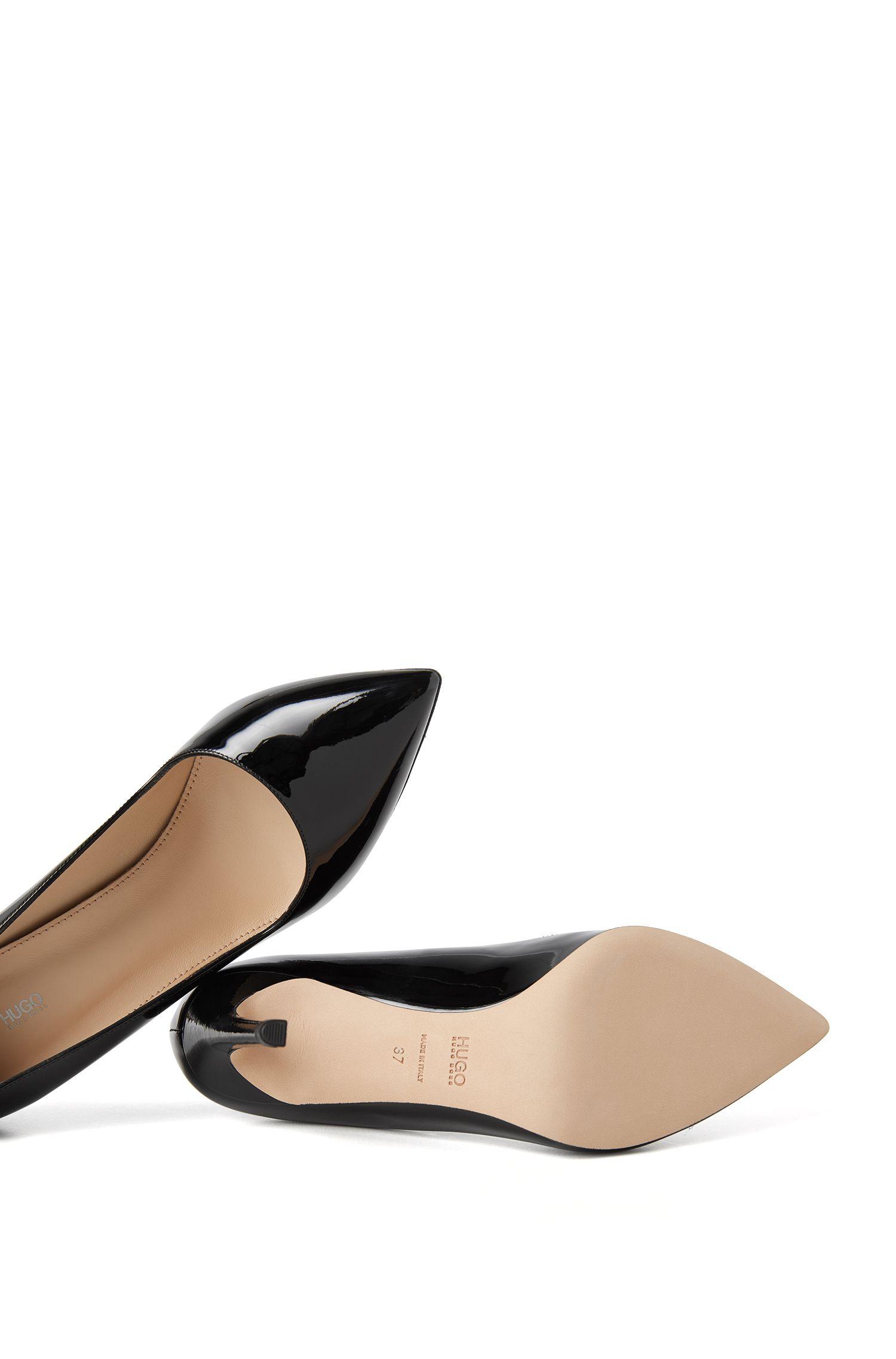 Escarpins à bout pointu en cuir italien, Noir