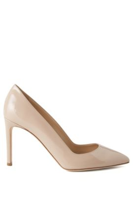 Pointed-toe court shoes in Italian leather, Light Beige