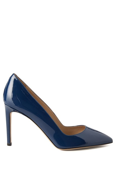 Pointed-toe court shoes in Italian leather, Dark Blue