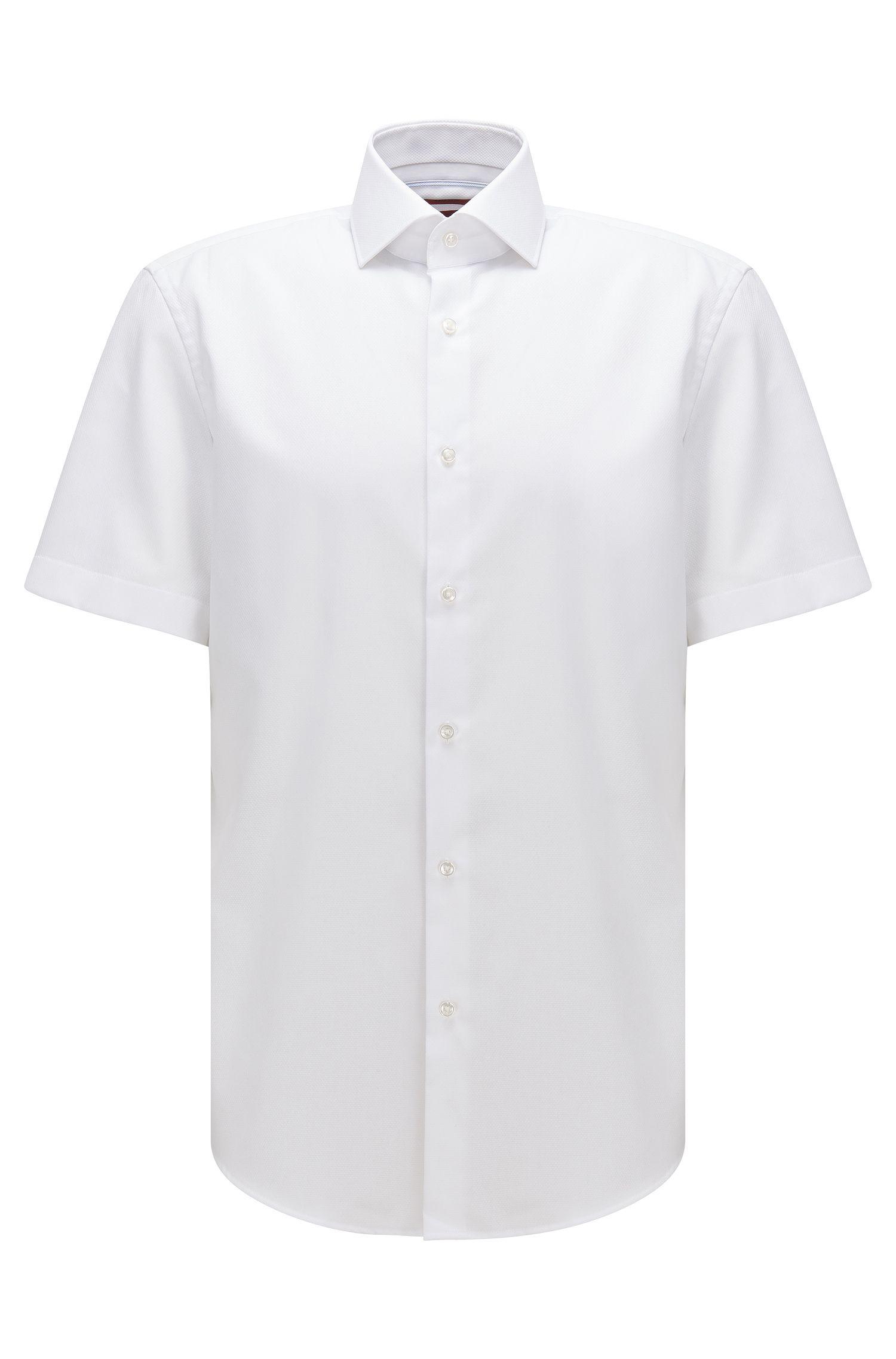Camisa regular fit de manga corta en algodón con textura de cuadros sencillos