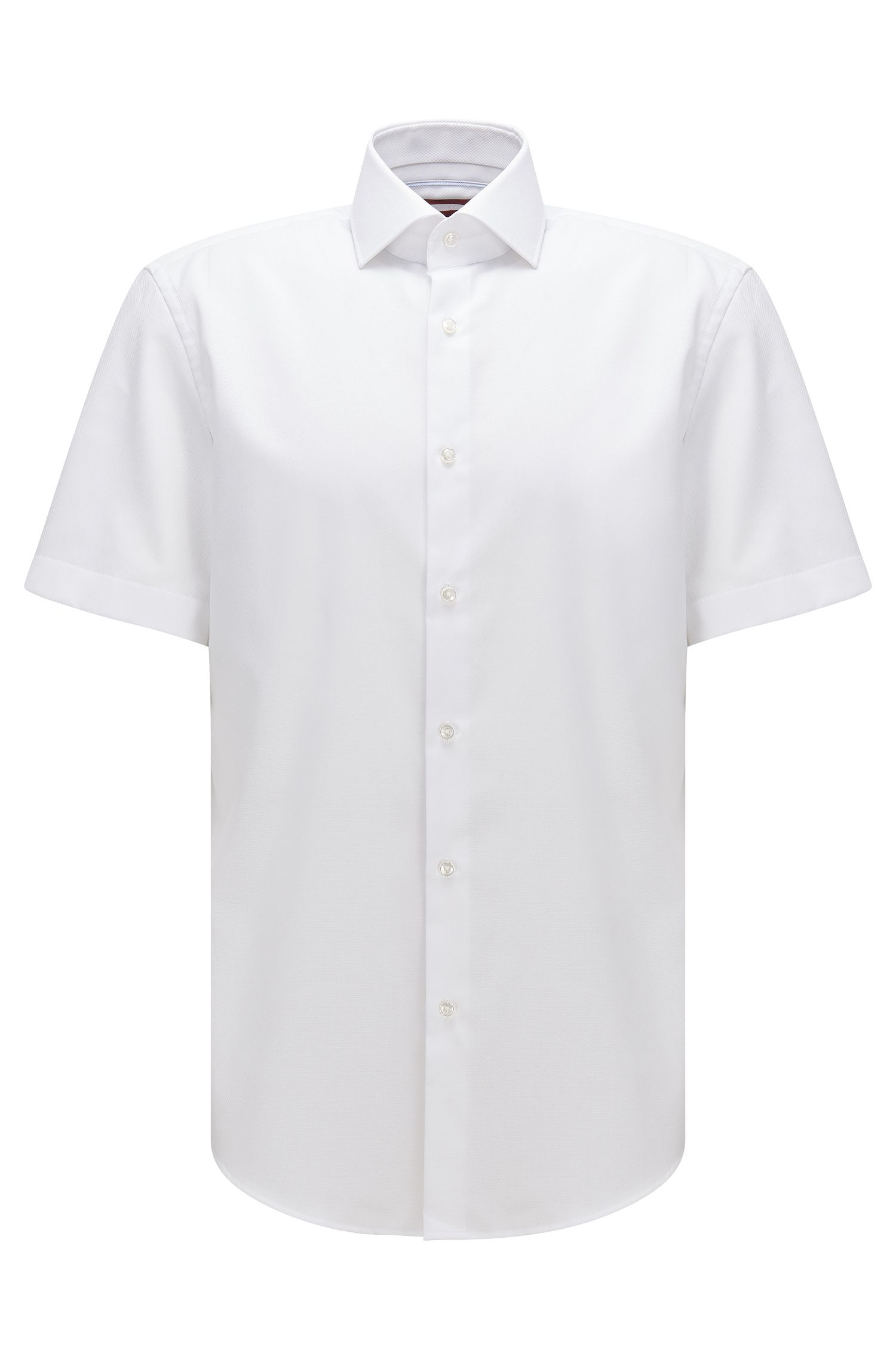 Regular-fit short-sleeved cotton shirt with plain check structure