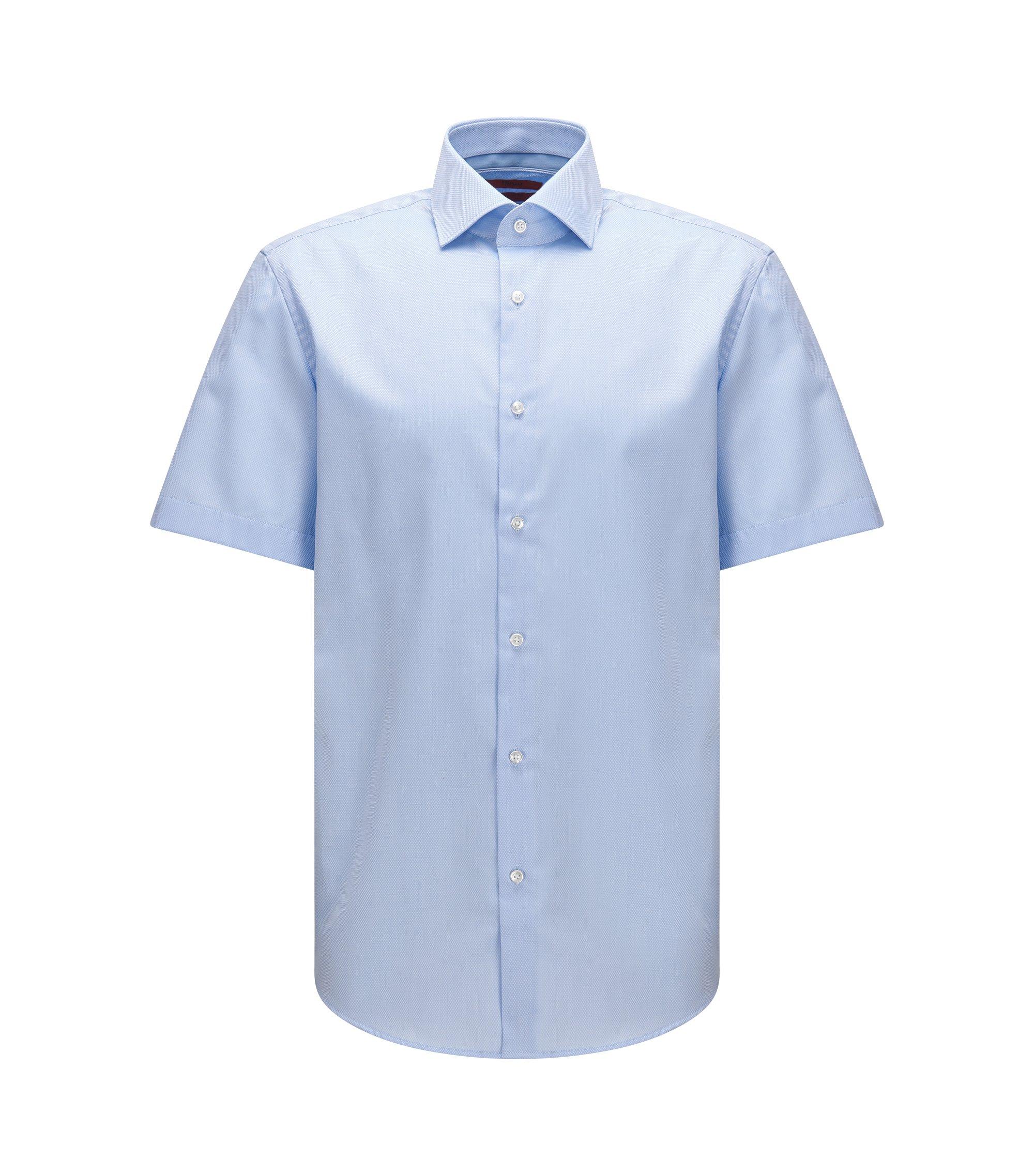 Camicia regular fit a maniche corte in cotone con lavorazione a quadri in tinta unita, Celeste