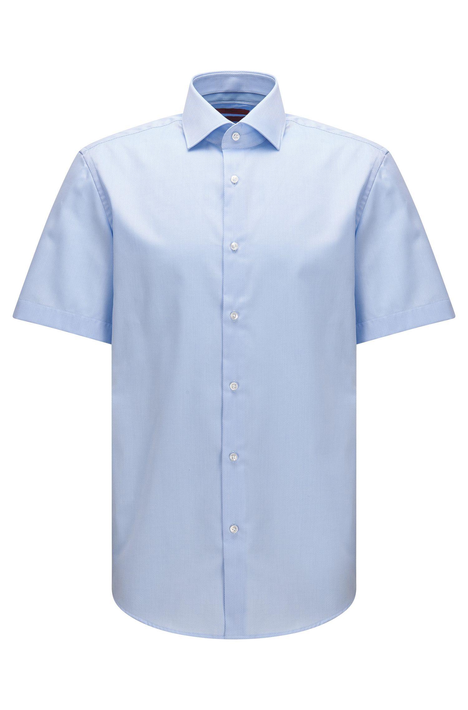 Camicia regular fit a maniche corte in cotone con lavorazione a quadri in tinta unita