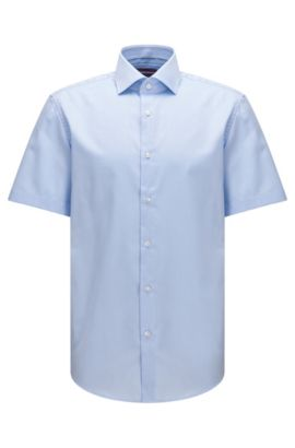Regular-fit short-sleeved cotton shirt with plain check structure, Light Blue