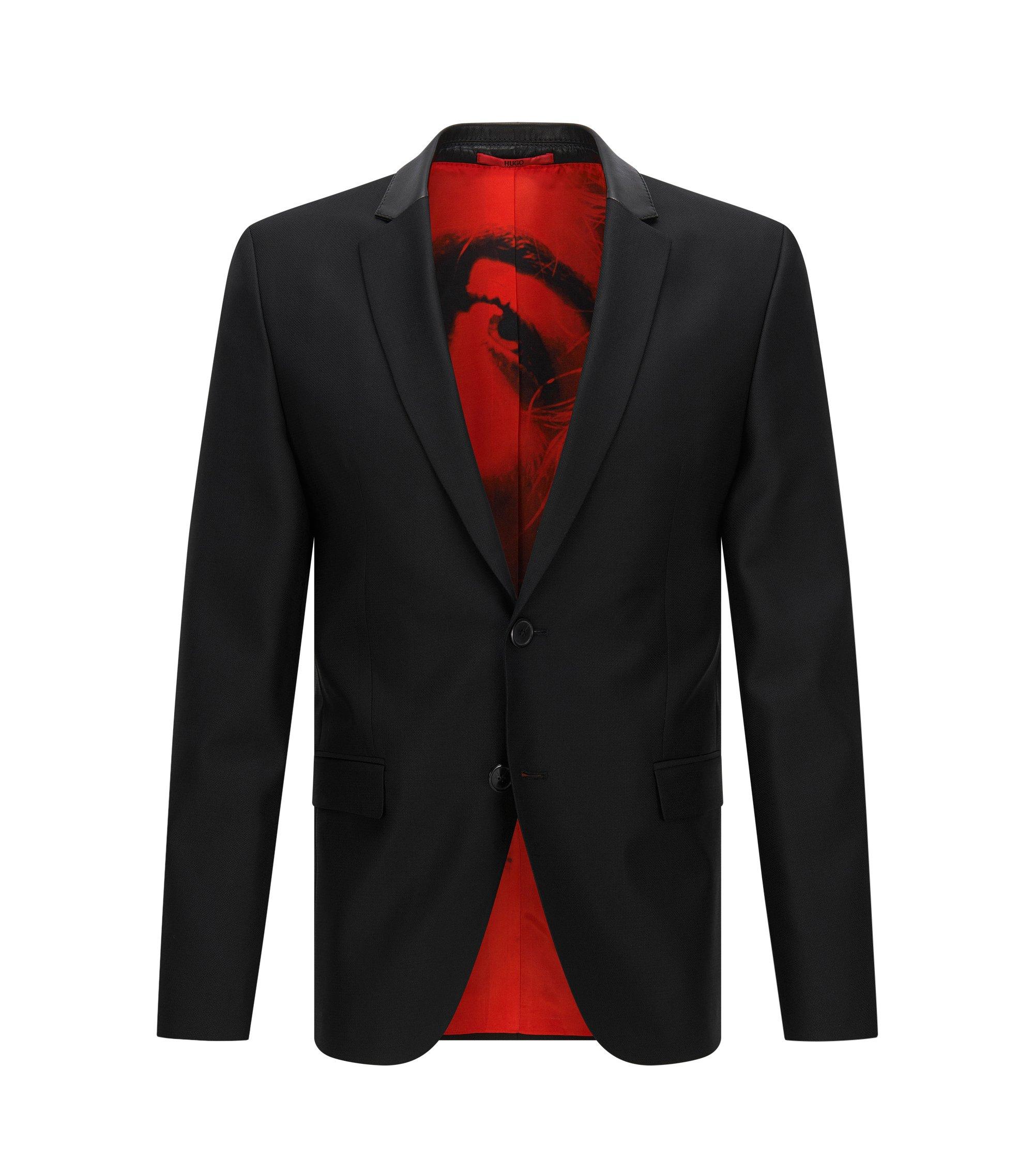 Veste de costume Slim Fit en laine mélangée, à col en cuir, Noir