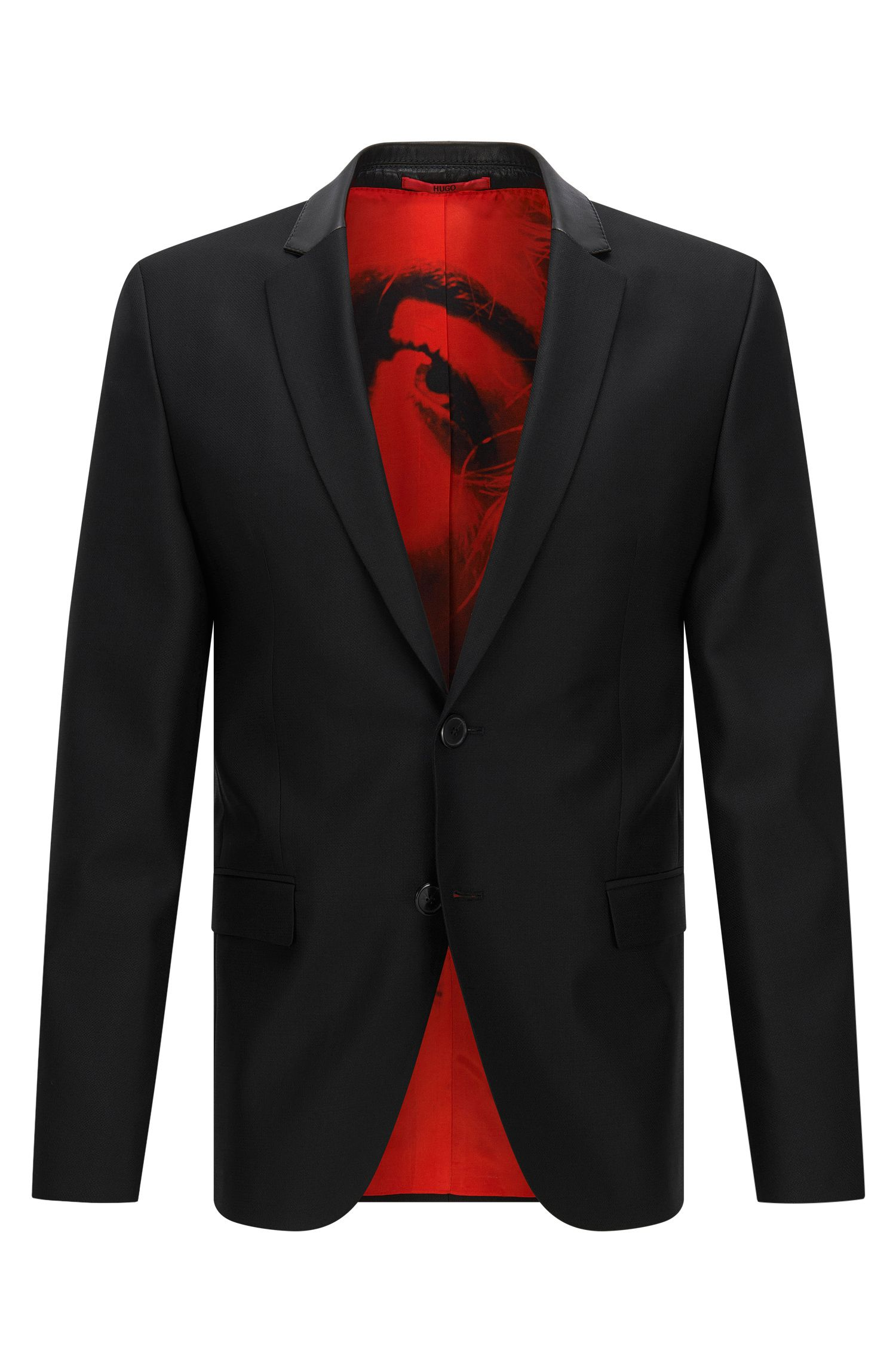 Slim-fit suit jacket in wool blend with leather collar