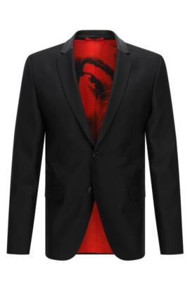 Slim-fit suit jacket in wool blend with leather collar, Black
